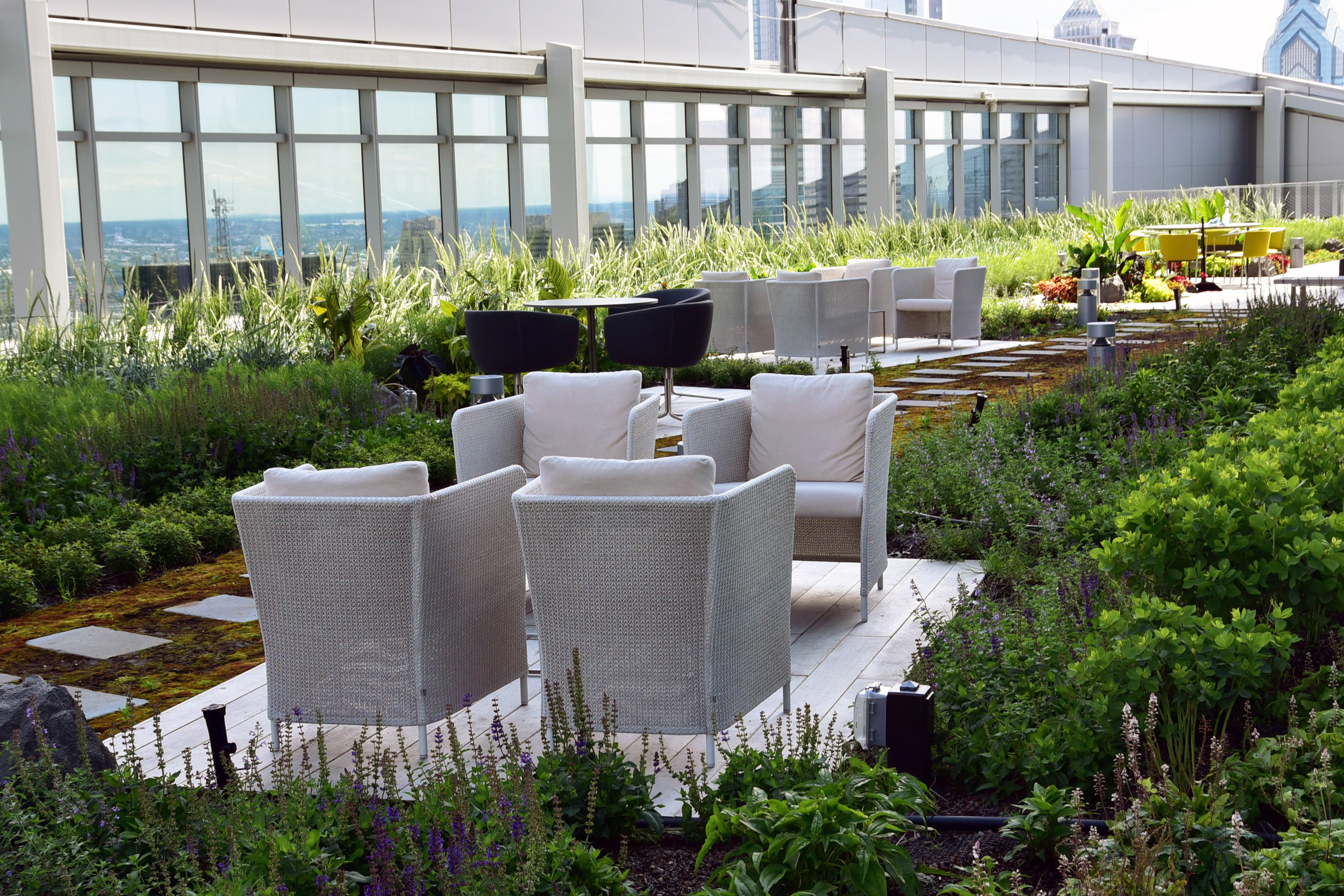 GCW developed and installed a new planting design that included hardy flowering perennial species, and tropicals on the level 28 green roof.