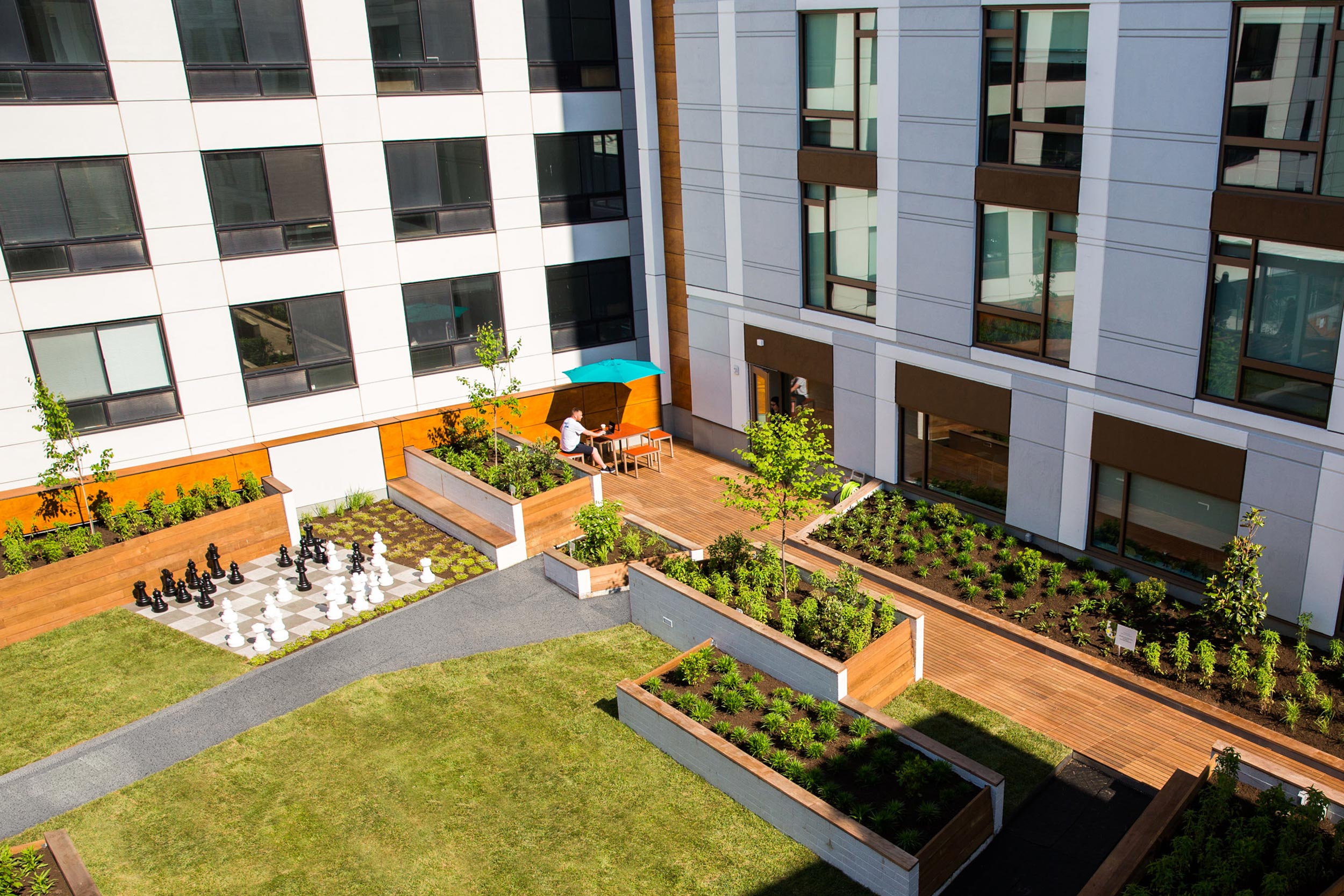 GCW constructed a green roof that included the installation of engineered soils, Ipe decking, custom raised planters & a lawn.