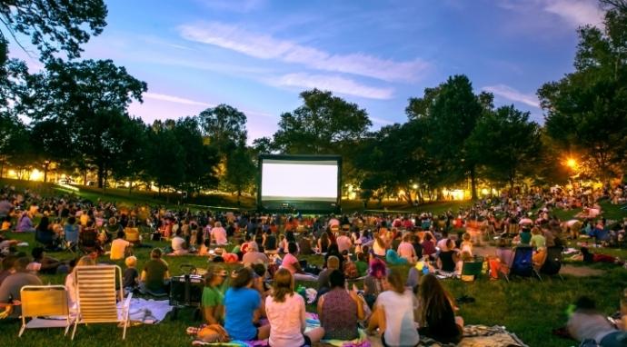 A crowd enjoying a movie in Clark Park