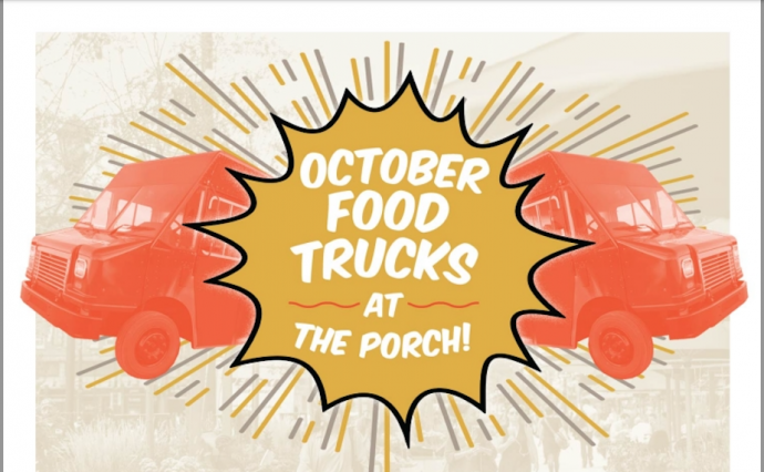 A graphic for October food trucks at The Porch