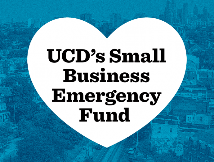 An image of University City with a graphic heart promoting the UCD small business emergency fund
