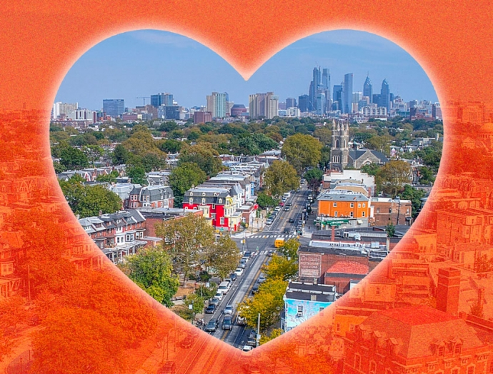 An image of University City with a graphic heart.