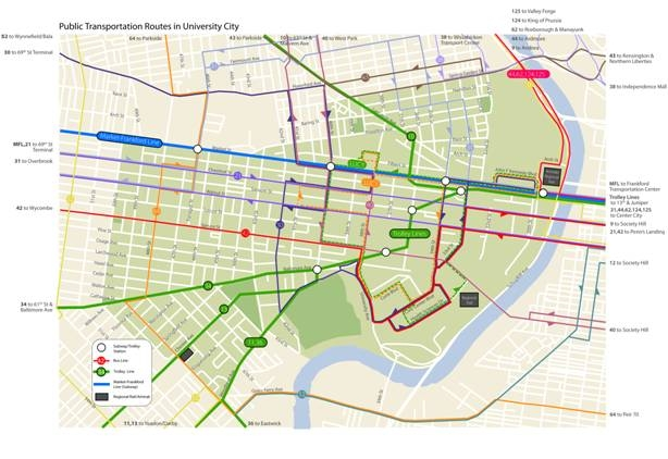 New Public Transit Map Of University City University City District - Philly train map