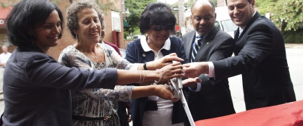 Local leaders cut the ribbon on Philadelphia's first Parklet