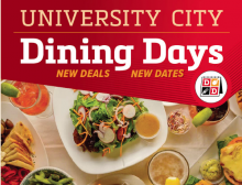 An image for University City Dining Days featuring a colorful assortment of food