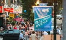 A Baltimore Avenue banner