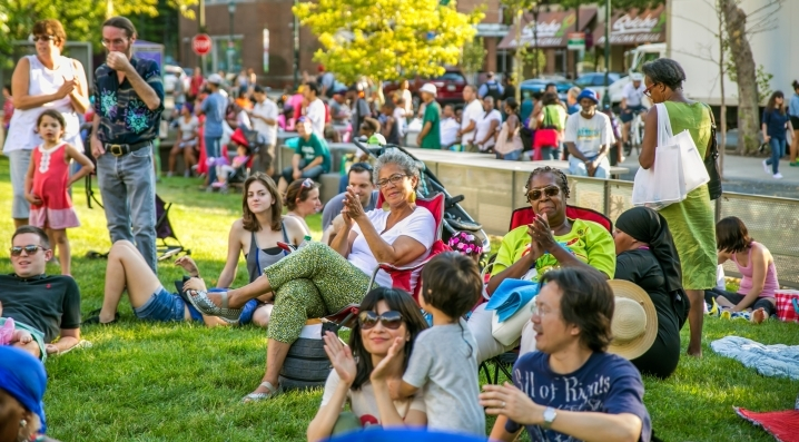 A crowd enjoying an outdoor concert during the Summer Series