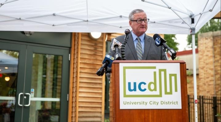 Mayor Jim Kenney speaks at the opening of Trolley Portal Gardens