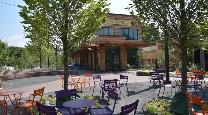 An outdoor view of Trolley Portal Gardens