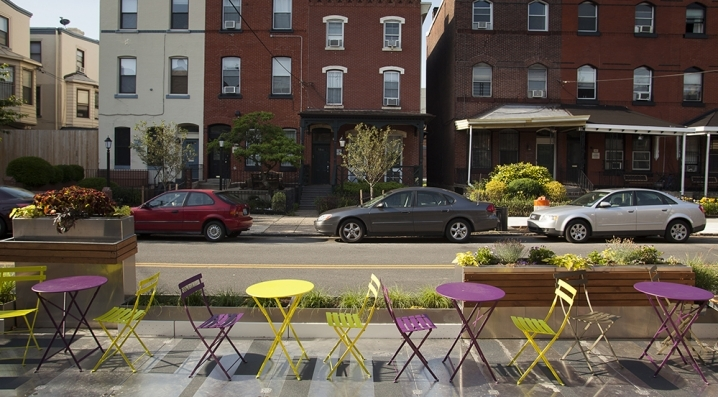 Our Parklet at a former location on Locust Street