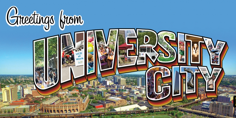 Welcome to University City postcard graphic.