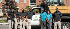 The Green City Works crew outside a project at the University of the Sciences